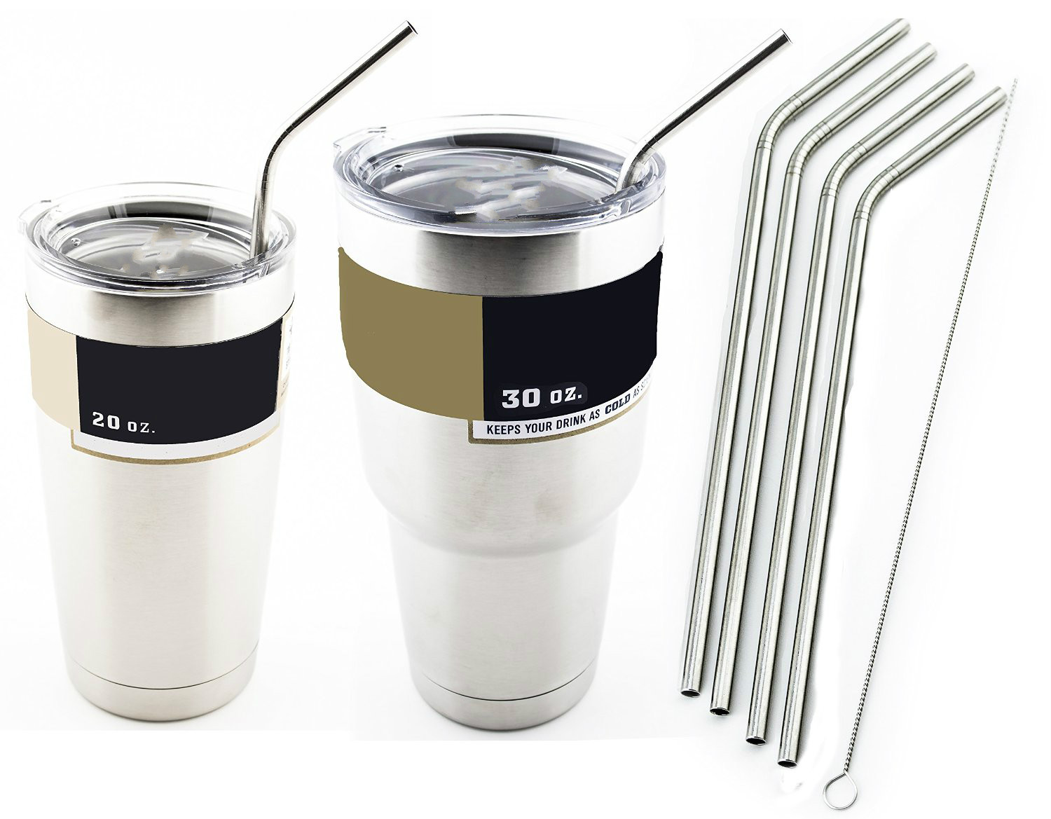 4 pcs Bend Stainless Steel Straws+ 1piece brush Extra Long fits 30 <font><b>oz</b></font> & <font><b>20</b></font> <font><b>oz</b></font> <font><b>Yeti</b></font> <font><b>Tumbler</b></font> <font><b>Rambler</b></font> <font><b>Cups</b></font>