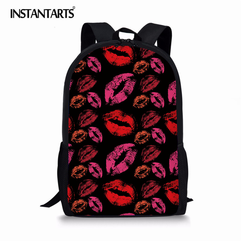 INSTANTARTS Sexy Red Lip Pattern Cute Backpack For Teenagers Children Back Pack Kawaii Girls Kids Large Backpacks Female Mochila