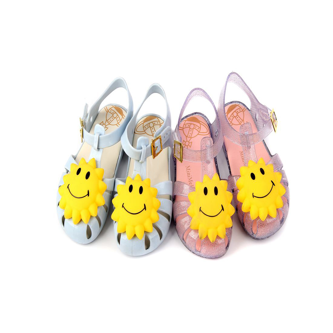 Mini Melissa hot Summer Girls Sandals Yellow Flowers Smiley Kids Mini 2018 New Shoes Hook Loop