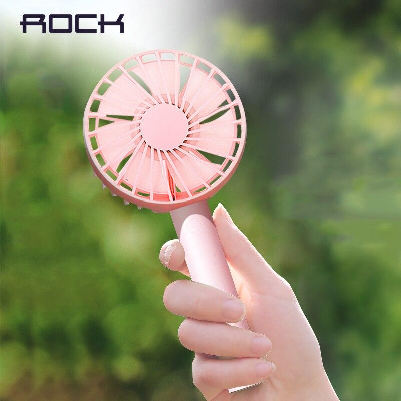 ROCK Main-Tenir 3-vitesse Mini USB Ventilateur Rechargeable avec 1800 mAh ou 1200 mAh Puissance banque Batterie Portable et multifonctionnel