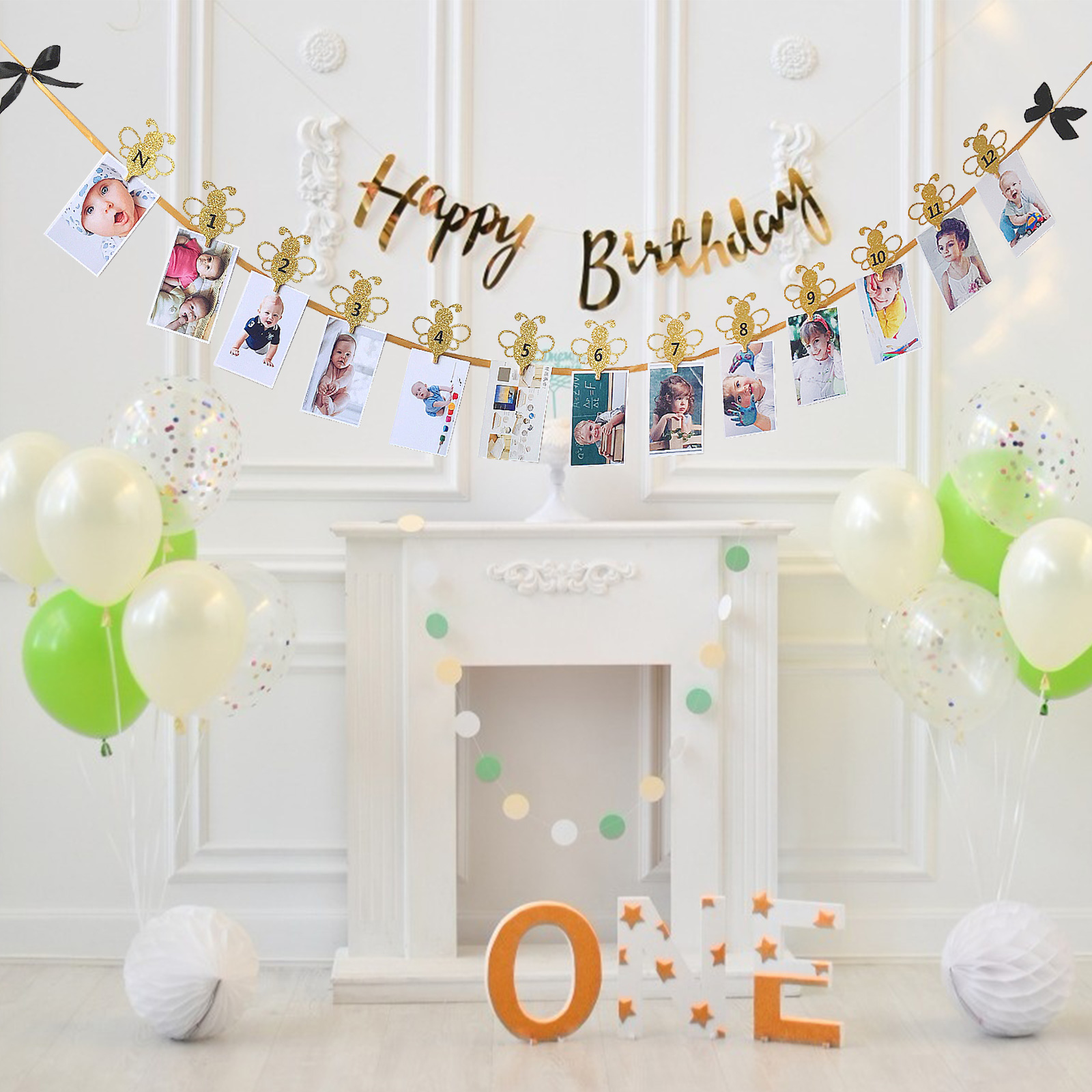 Honey <font><b>Bee</b></font> 1 Years Old Flash Photo Frame Banner <font><b>Bee</b></font> Confetti for Baby Shower Kids Birthday <font><b>Party</b></font> Decor Wedding <font><b>Party</b></font> <font><b>Supplies</b></font> image