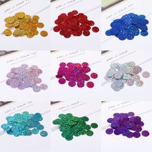 20mm silver-plated color laser PVC sequins with side holes for stage dress sequins 90 pieces of packaging sequins accessories(China)