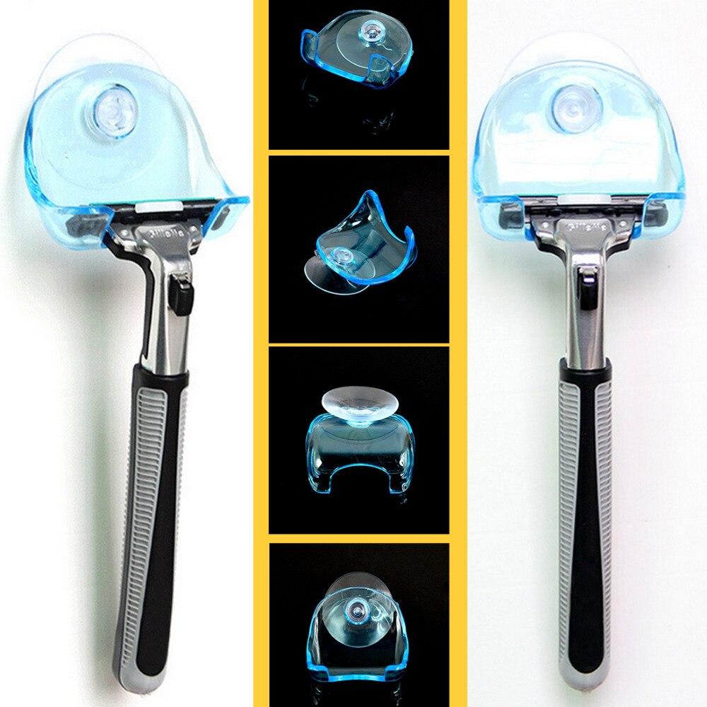 Super Suction Cup 1PC Razor Holder Plastic Clear Blue Shaving Razor Rack Wall-mounted Shaver Shelf Bathroom Cupula Set