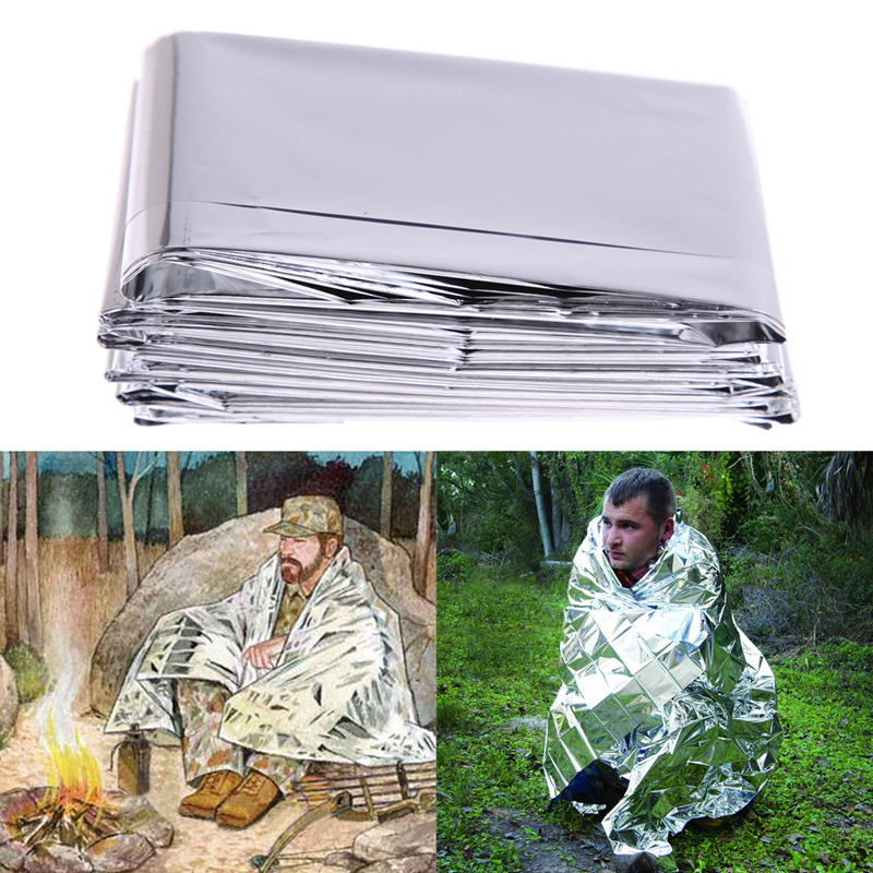 HOT SALE 210 x 130cm Camping Portable Silver Thin Emergency Survival Rescue Curtain Outdoor Foldable Life