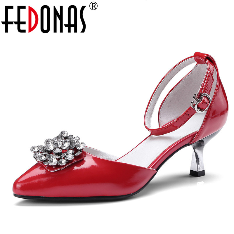 FEDONAS 2018 Women Spring Summer Pumps Sexy High Quality Gladiator Heels Patent Leather Ladies Rhinestone Wedding Party Shoes ladies red shoes 2018 spring patent cross straps gladiator pointed toe sandals women high heels party wedding pumps shoes 43