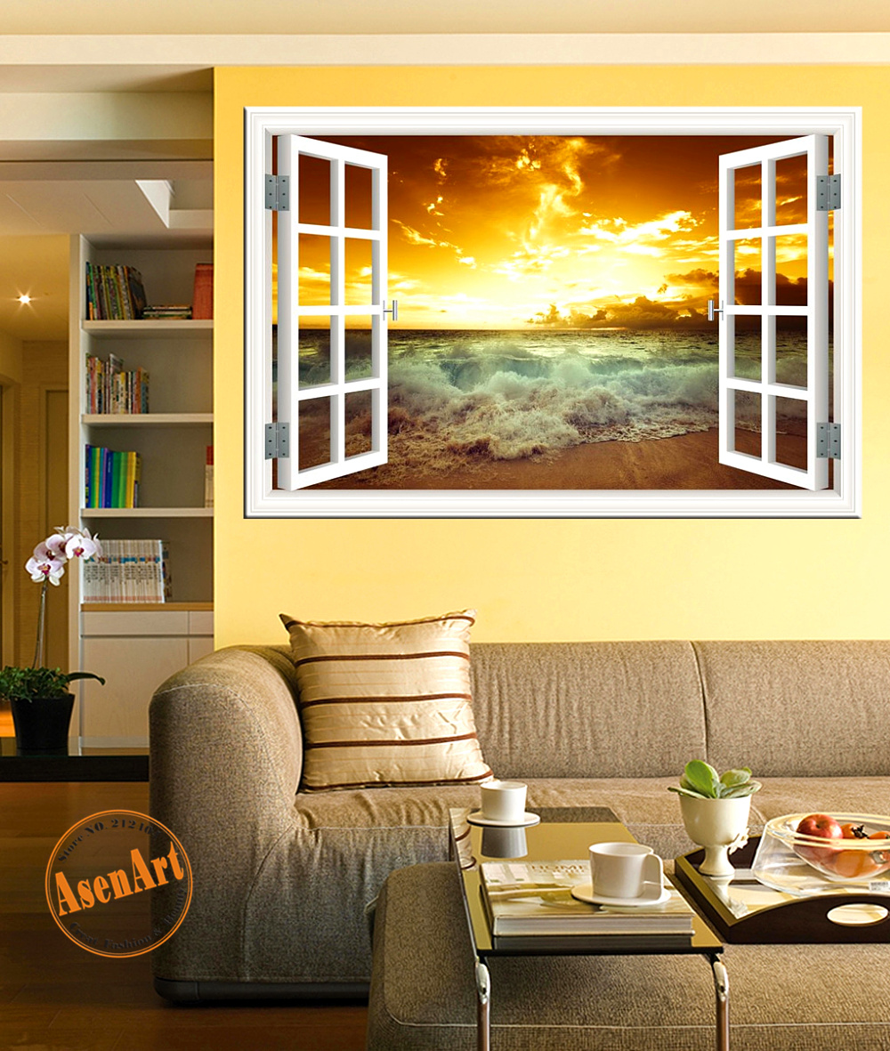 Wallpapers In Home Interiors: Seaside Sunset 3D Wall Sticker High Quality Removable Wall