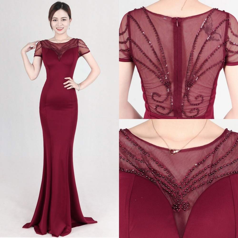 2018 New Burgundy Beads Dress Long Evening Party Club Woman O-neck Short Sleeves Mermiad Maxi Dress Formal Prom Gowns Vestidos floral flower printed ball gowns with belt 2016 summer o neck short sleeve princess dress for party frocks evening prom dress