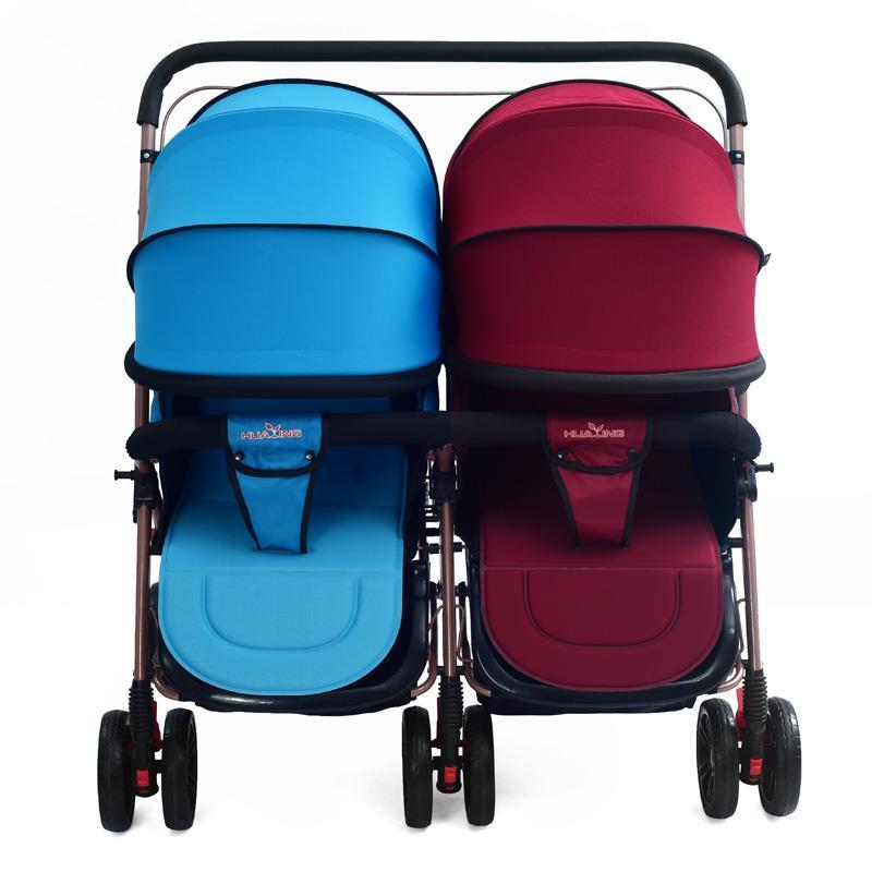 Cochecito de bebé gemelo de paisaje alto ligero de dos vías puede sentarse reclinable carrito de luz plegable paraguas doble cochecito 0-3Y