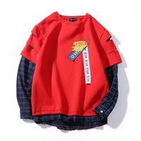 Men Pullovers 2018 New Spring Autumn O Neck Collar Patchwork Plaid Fleece Hoodie Sweatshirt Fashion Casual