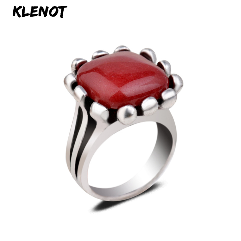 Natural Red Jade Stone Men Square Ring Set Punk Oval Geometric Gemstone In Antique Silver Size 7/8/9 For Women Mens Jewelry