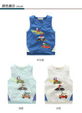 Summer 2017 Children's Vest Baby Boys Sleeveless Cartoon cartoon Beach Clothes for Boys Kids Tank Tops age from 1-7T