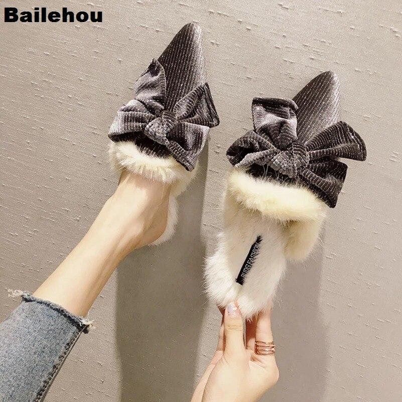 Women Fur Slippers Butterfly Knot Pointed Toe Flat Shoes Furry Design Loafers Slip On Mule Plush Slide Pearl Low Heel Women Shoe
