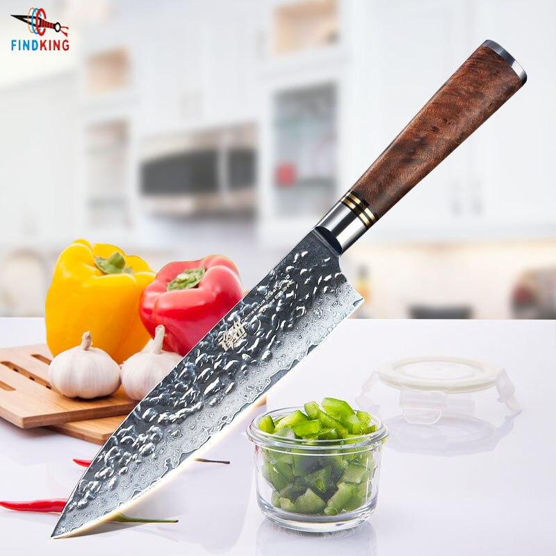 FINDKING 8 дюймов Sapele деревянной ручкой Дамаск нож шеф-повара 67 слоев Профессиональный Japenese дамасской стали кухонные ножи