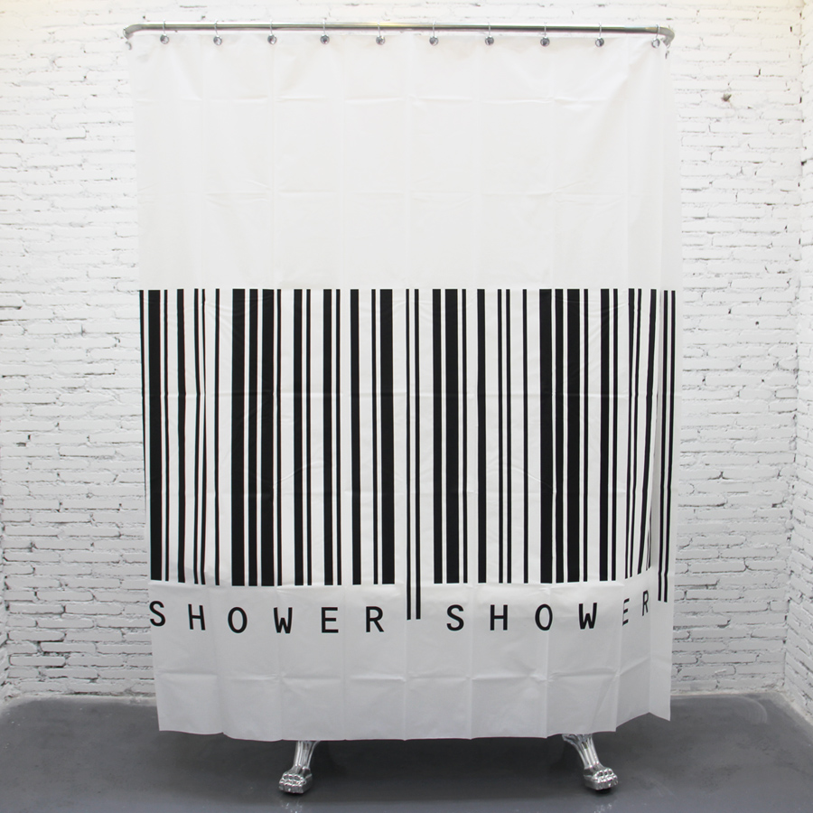 Fashion Bar Code Design Bathroom Curtain Waterproof Shower Curtain Black And White Vertical