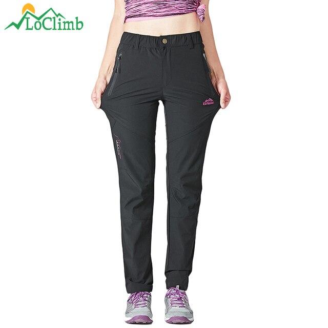 LoClimb Stretch Nylon Caminhadas Calças Mulheres Esportes Ao Ar Livre de Secagem rápida Calças Mulher Montanha Escalada/Ciclismo/Calças de Trekking AW162