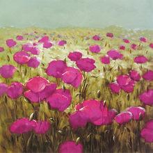 Pintura de paisaje de oficina con flores púrpuras, póster cuadrado de sala de estudio, pinturas cuadradas de 28x28 pulgadas, imagen artística de pared