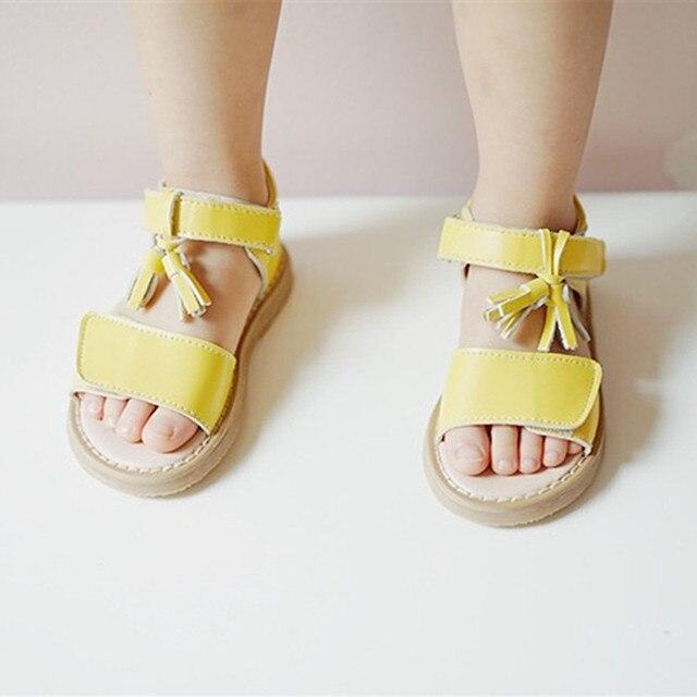 Genuine Leather Girls sandals kids Princess shoes Fringe Girls shoes non-slip Children sandals 2T-5T Free shipping