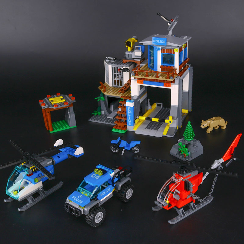 IN STOCK LEPIN 02097 742 Pcs City Series The Mountain Police Headquater Set Building Blocks Bricks Toys Model Kids Gifts 60174 dhl lepin 18032 2932 pcs the mountain cave my worlds model building kit blocks bricks children toys clone21137 in stock