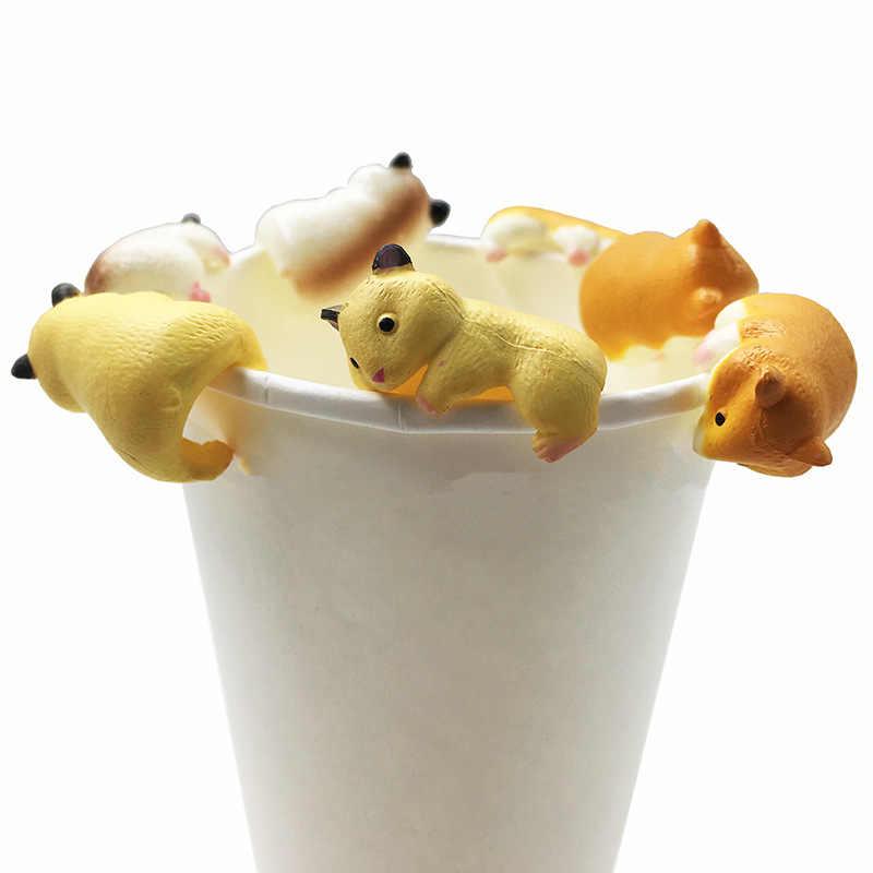 3 ピース/セットハリネズミ形状アクションフィギュアかわいい動物ハムスターフィギュアのおもちゃマグティーバッグホルダーの装飾