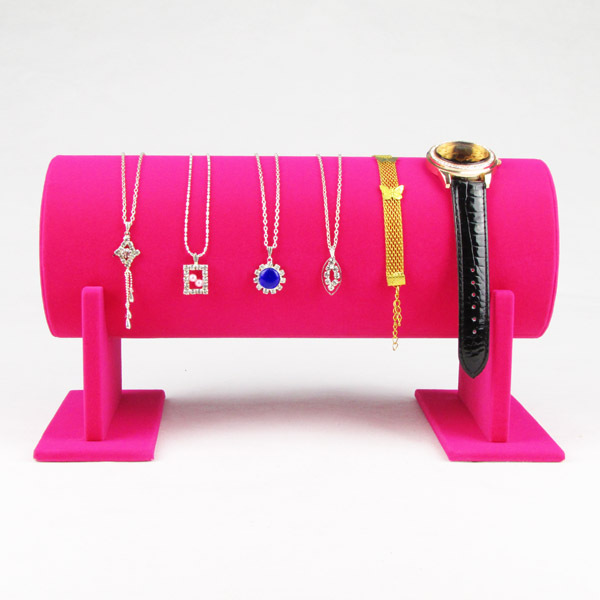 TONVIC Wholesale Pink Velvet Headband Display For Headwear Necklace Bracelet Watch Stand Holder Rack 30cm L High Quality