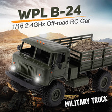 WPL B-24 1/16 RC Car 2.4GHz RC militar Truck Off-road Army Car Radio Control Electric Vehicle With LED Light RTR RC Toys Gifts