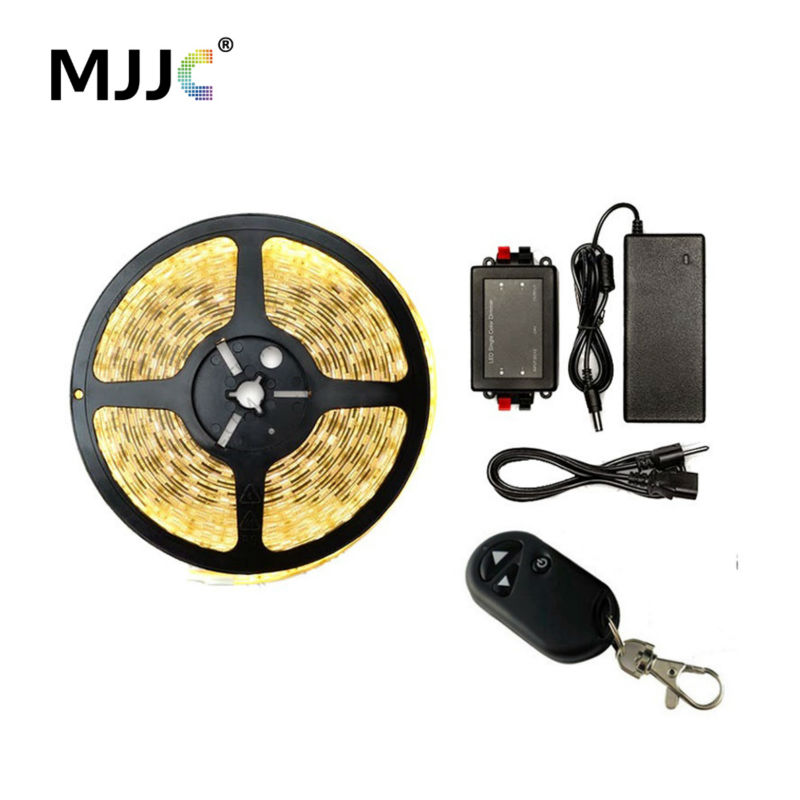 RF Wireless Dimmable LED Strip Light Kit 12V DC 5M 300 SMD 5050 LED Tape Light Warm Cool White Waterproof Ribbon Stripe Lamp sencart waterproof 12w 900lm 9500k 300 smd 3528 led cool white light strip white dc 12v 5m