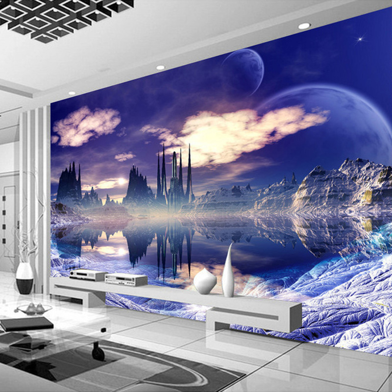 Custom Wall Mural Painting Castle In The Sky Photo Background Wallpaper For Living Room 3D Wall Murals Wallpaper Home Decor