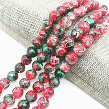 Salad Glass Beads Painted-Pearl-Charm Jewellery-Making Green Loose-Spacer Wholesale 8mm