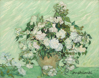 Hand Painted Reproduction Van Gogh's Artwork White Roses Oil Painting on Canvas Handmade Wall Art Plant Flower in Vase Picture