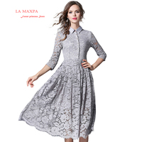 2018 New Spring La MaxPa Woman Solid Gray Hollow Out Lace A Line Casual Midi Dress