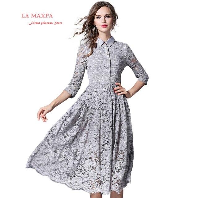 Spring Dresses a Line Gray