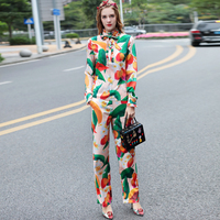High Quality Women 2 Piece Clothing Set 2017 Spring Runway Fashion Long Sleeve Print Blouse And