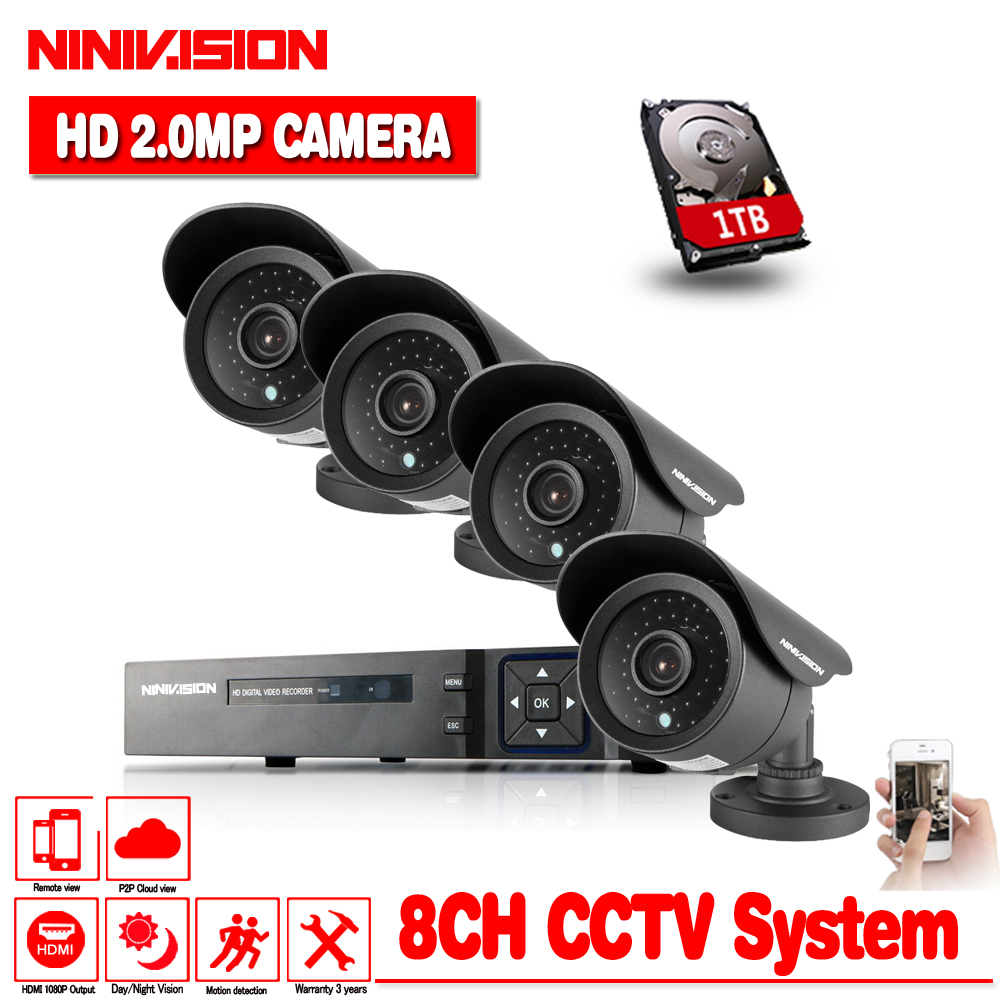 NINIVISION HD 2MP Video Surveillance CCTV System 8CH HD 1080P HD AHD DVR Kit 4*1080P Outdoor Security Camera System 1TB HDD