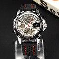 Los hombres del Deporte Militar reloj de pulsera Mecánico Automático Esquelético Reloj de Pulsera de Silicona Con Estilo
