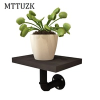 MTTUZK Wrought iron water pipe shelf bookcase Multicolor wall shelf wall flower stand wall mounted partition board wall rack