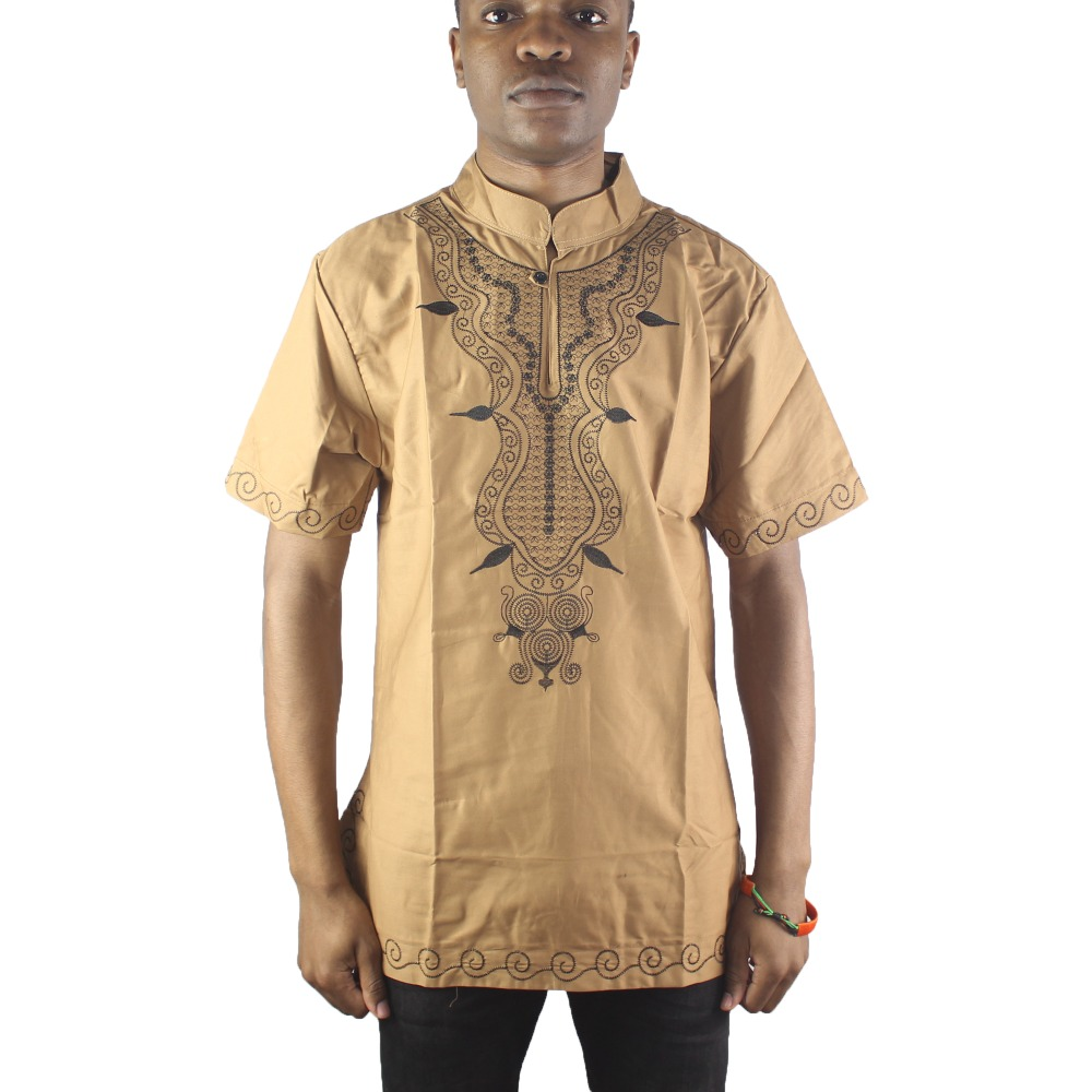Gold Both Sides Africa Embroidery Men`s Dashiki Tops Male Summer Ethnic Shirts