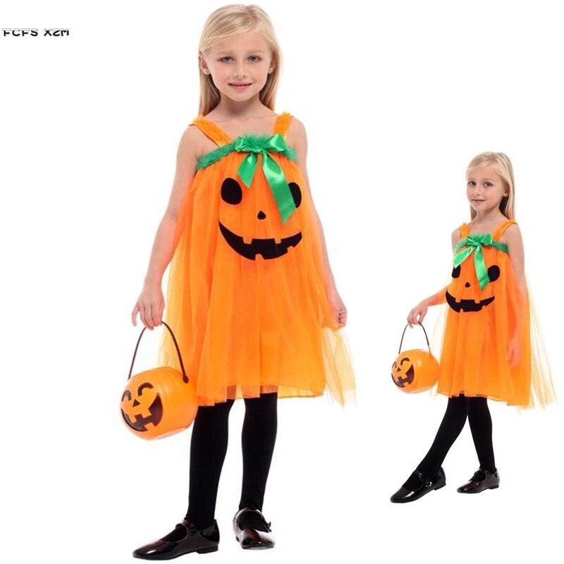 Orange Girls Pumpkin skirt Halloween Witch Costumes Kids Children Sorceress Cosplay Carnival Purim parade Masquerade party dress