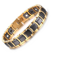 Vnox Top Quality Men's Magnetic Bracelet Bangle Black Ceramic Chain Link free Adjustment Length Tool