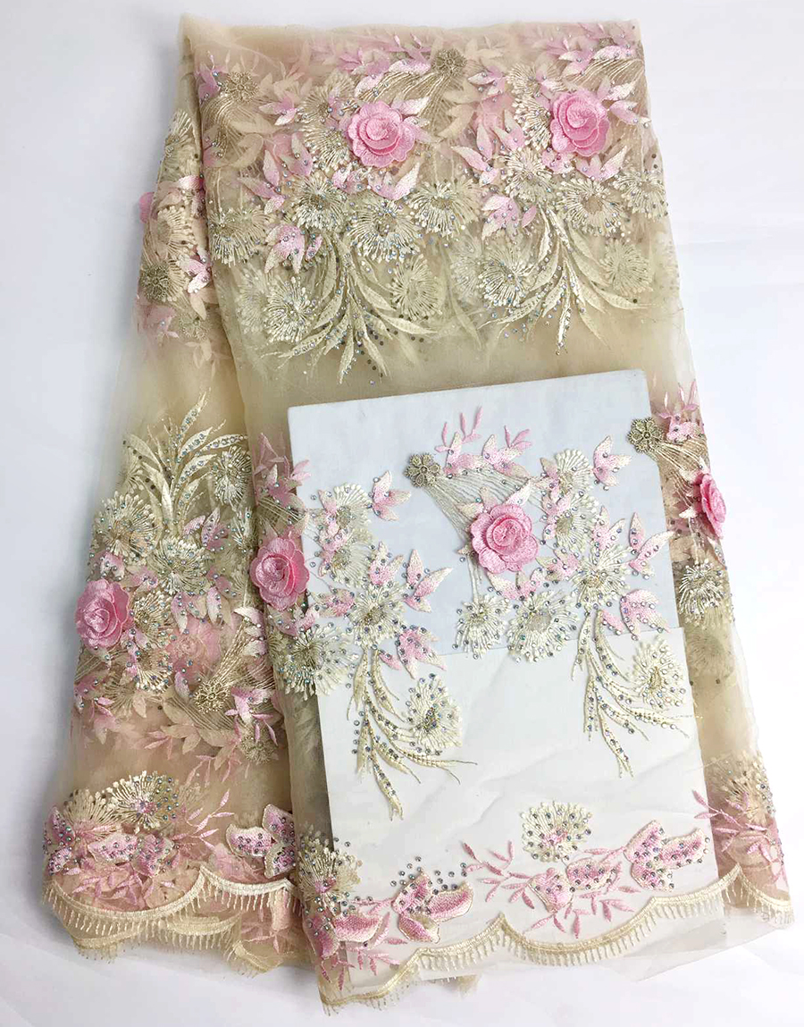 French Lace Fabric 3D Flowers Embroidered African Tulle Lace Fabric With Beads African Lace Fabric For Wedding DressFrench Lace Fabric 3D Flowers Embroidered African Tulle Lace Fabric With Beads African Lace Fabric For Wedding Dress