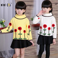 2016 Fashion Children's Costumes Baby Girls Sweaters Spring Autumn Winter Kids Pullover Tops Sweet Flower Kids Outfits For Girls