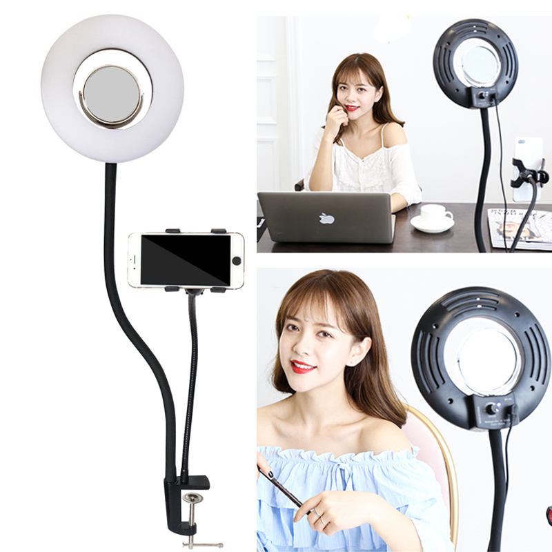 8'' 24W 5500K 120PCS Selfie Ring Light Dimmable LED Lazy Bracket Tabletop Cell Phone Holder Clip For Iphone HTC HUAWEI