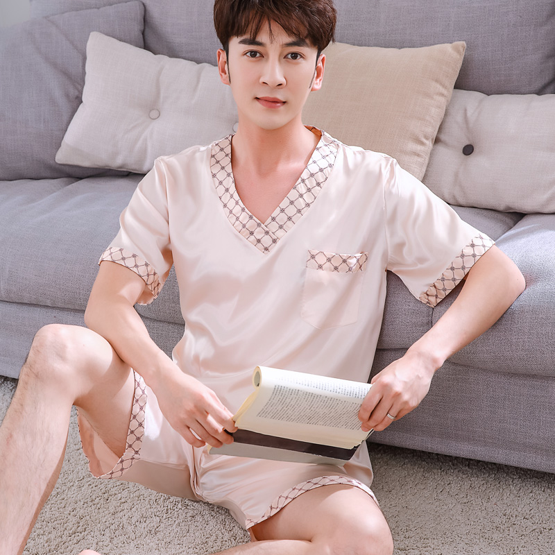 Hot Sale Men Silk Pajama Sets Summer Men's Pajamas Sexy Sleepwear Male Short-Sleeve Shorts Pajamas Fashion Men Homewear Sets
