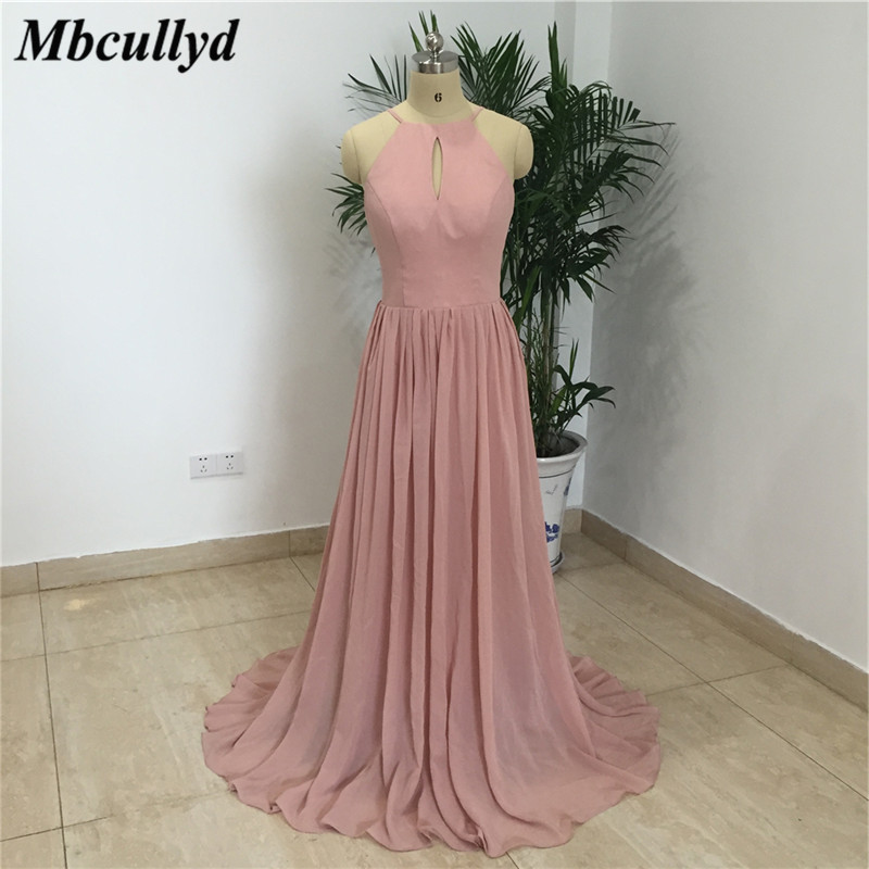 Cheap Under 100 Pink Bridesmaid Dresses For Women 2019 Halter Neck A Line Chiffon Maid Of Honor Dress Fashion Girls Party Gowns