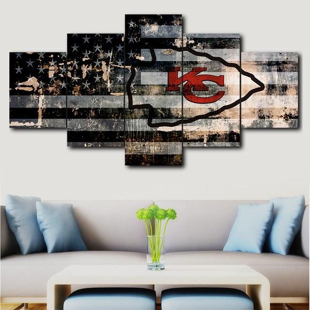 5 Pcs Modular Canvas HD Print Poster Home Decor Wall Art Picture Pieces Kansas City Chiefs Sport Logo Painting