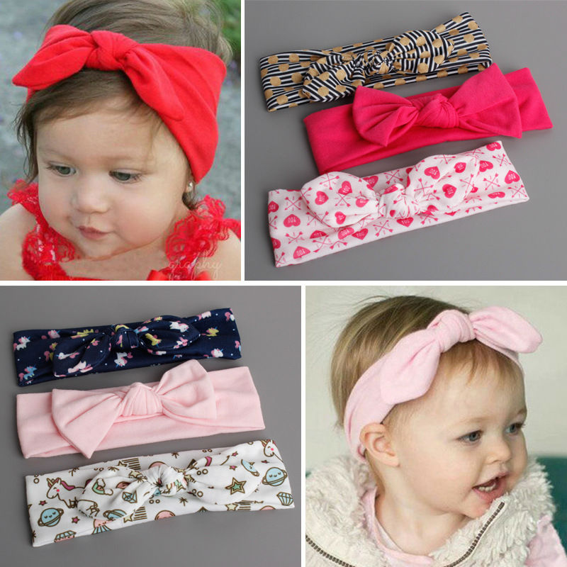 #GA013 3pc/lot Elastic Cotton Hair Band For Baby Kids Solid Color/Cartoon/Flowers Multi Style Bow Knot/ Rabbit Ear Headband Set