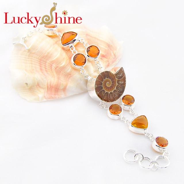 Promotion 2PCS 1 Lot Luckyshine Fire Classic Natural Ammonite Fossil Citrine Chain Bracelets Russia Australia Bracelets Bangles