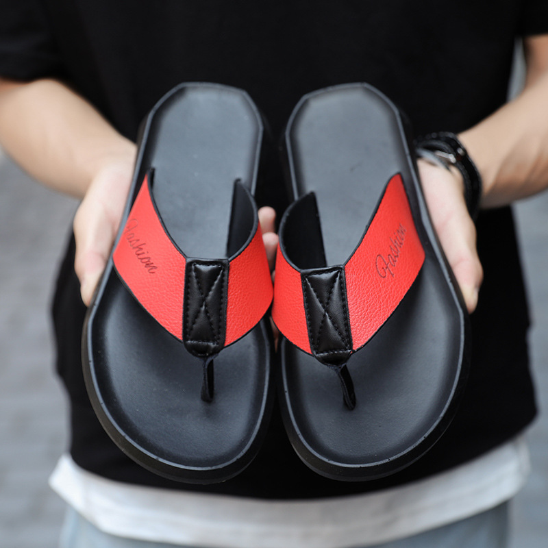 Beach Casual Men Shoes Travel Red Non Slip Flip Flops Youth Casual PU Comfortable Concise Basic Zapatos De Hombre(China)