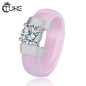 Healthy Jewelry Rings for Women Never Lose Color Made Your Finger Green Lovely Pink Ceramic Rings With Big Crystal Bling Jewelry