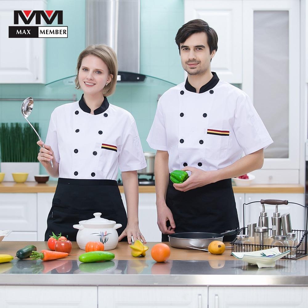 Men Women Restaurant Kitchen Chef Short Sleeve Workwear Uniforms Hotel Waiter Summer Breathable Tops Overalls Jackets Aprons