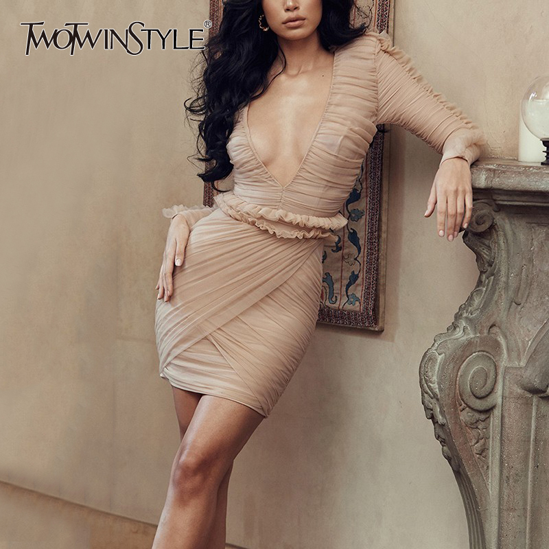 TWOTWINSTYLE Ruffles Patchwork Sexy Dress Women V Neck High Waist Ruched Long Sleeve Tunic Mini Dresses